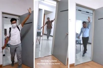 All For His Wife's Smile: Compilation Video Of Husband Dancing Into Home After Work Goes Viral