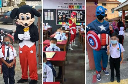 superheroes-and-other-famous-friends-greet-kids-on-their-first-day-at-school