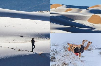 [PHOTOS] It's Unusually Snowing In The Sahara Desert But The Views Are Mesmerising