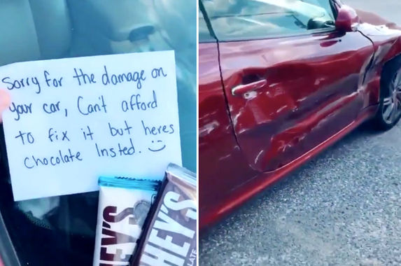 video-driver-attempts-to-compensate-for-fender-bender-with-chocolate-netizens-are-amused