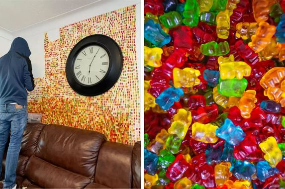 man-sticks-6-000-gummy-bears-to-house-wall-after-partner-asks-him-to-decorate-it-tastefully