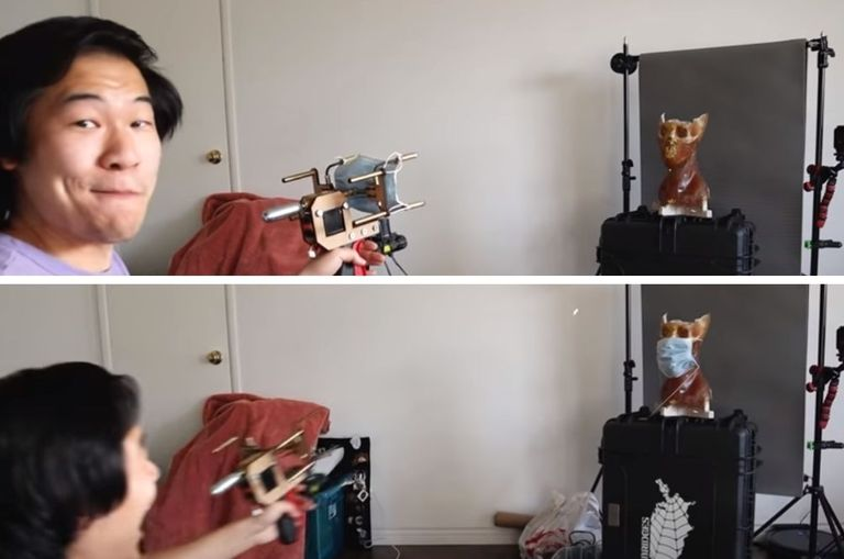 youtuber-creates-mask-launcher-that-shoots-masks-onto-people-s-faces