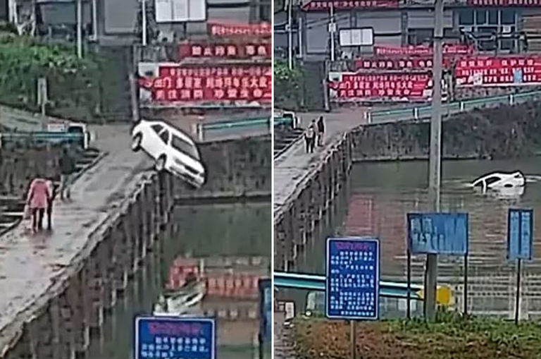 man-celebrates-passing-driving-test-by-crashing-his-car-into-a-canal