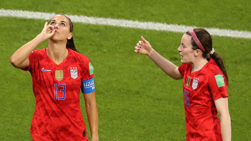 Alex Morgan blasts tea-sipping celebration critics over double standards