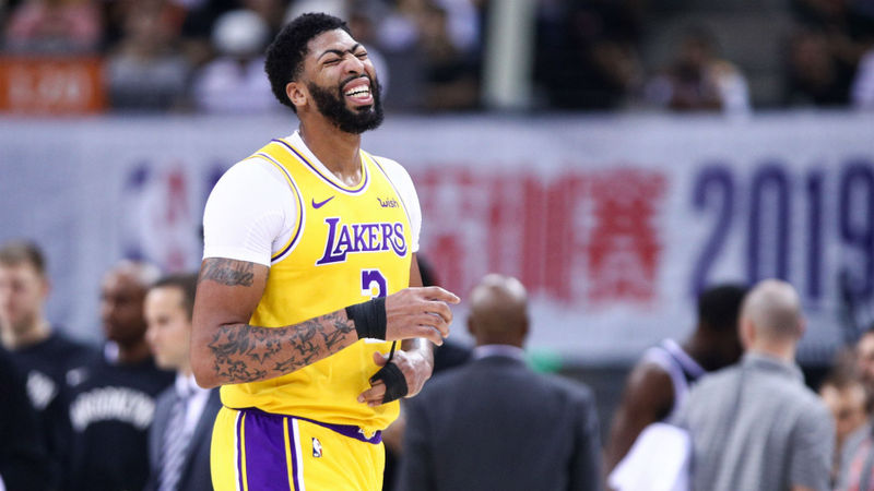 Anthony Davis sprains thumb as Nets top Lakers again in China