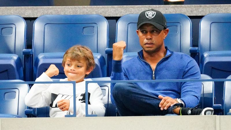 Eagle alert for Tiger as Woods lets son Charlie share the spotlight