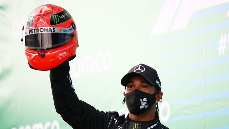 F1 2020: Hamilton presented with Schumacher helmet after record-equalling win