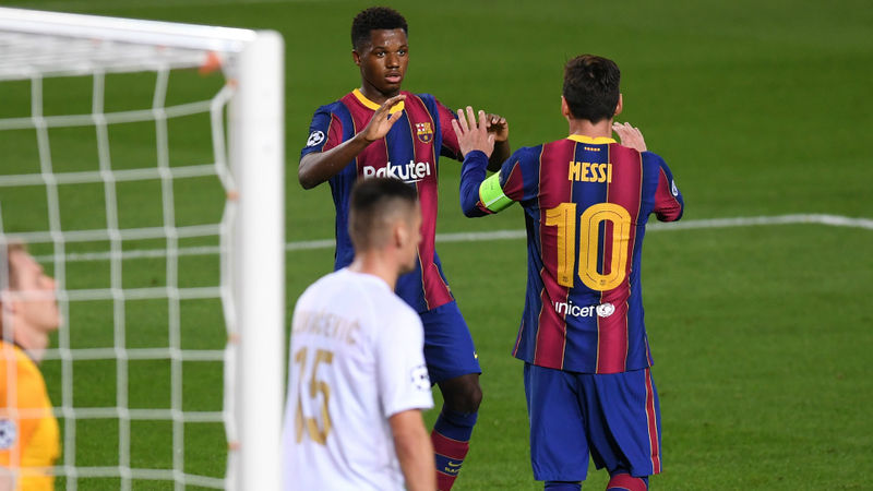 Barca's Fati continuing to learn from Messi after making Champions League history