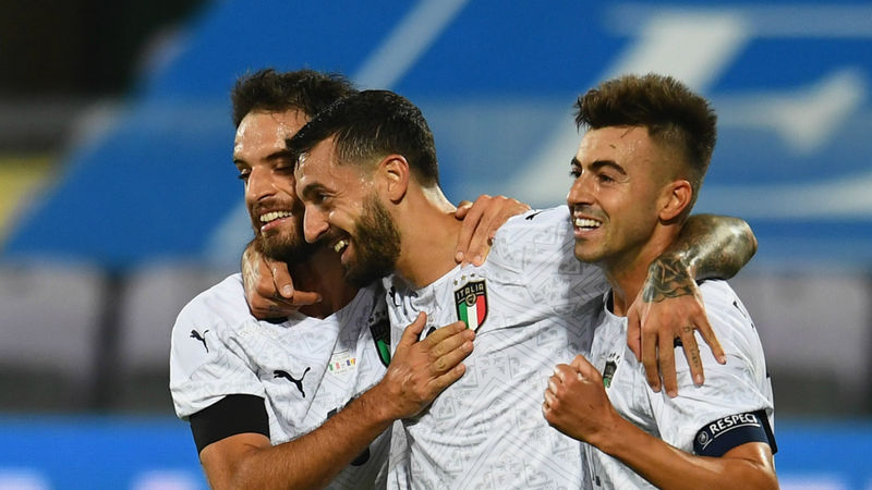 Italy 6-0 Moldova: Caputo scores debut goal as Mancini's side cut loose