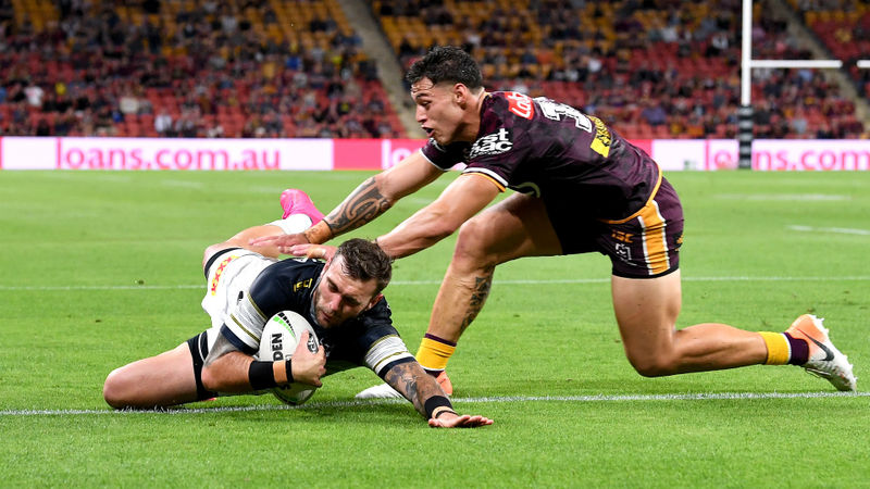 Broncos effectively get wooden spoon after Feldt hat-trick for Cowboys