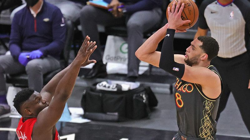 LaVine and White smash NBA three-point record, Doncic blazes Hawks with triple-double