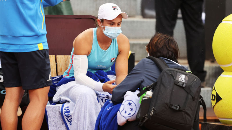 Barty retires from Rome quarter-final against Gauff with French Open in sight